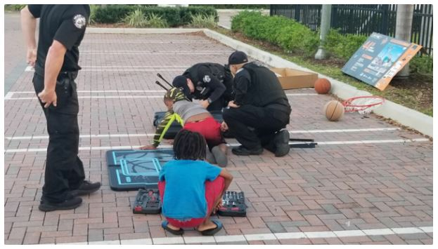 Delray Beach officers generously buy new basketball hoop for children | Local News Shared By W.D.C.C.