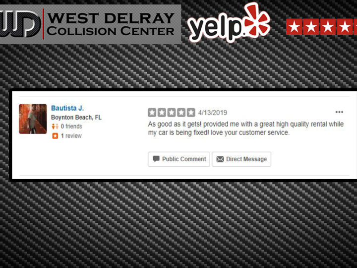 5 Star Yelp Review by Bautista J. | West Delray Collision Center