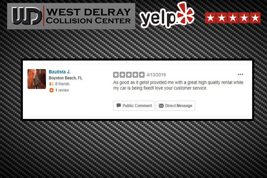5 Star Yelp Review by Bautista J    West Delray Collision