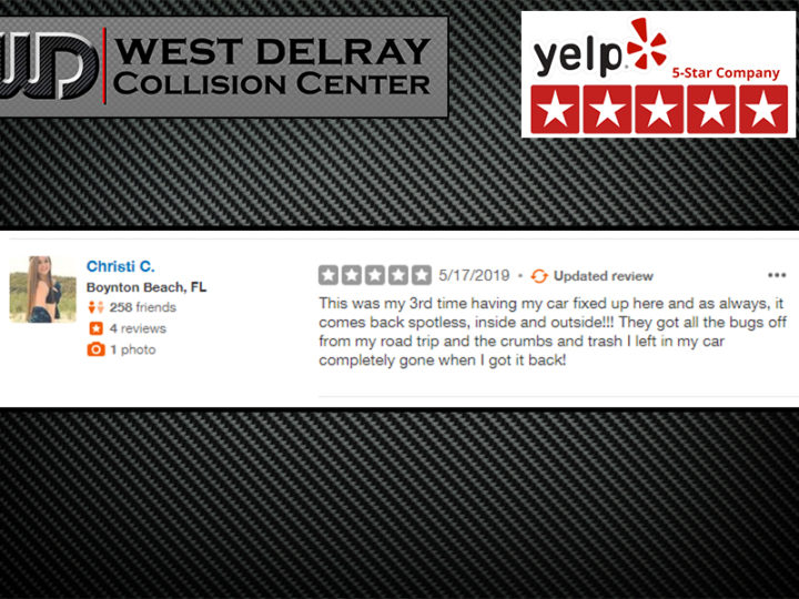 3rd 5 Star Yelp Review By Christi C. | West Delray Collision Center