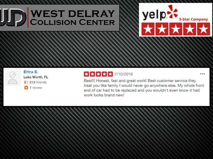 5 Star Yelp Review by Erica S | West Delray Collision Center