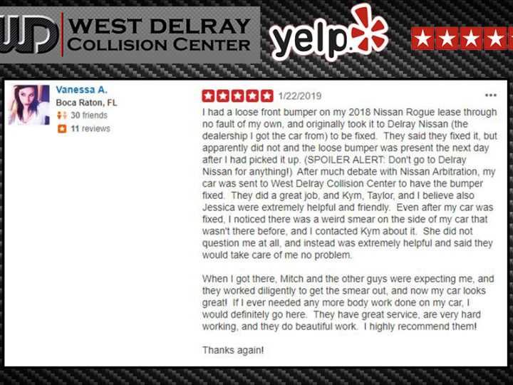 YELP 5 Star Review by Vannessa A. | West Delray Collision Center