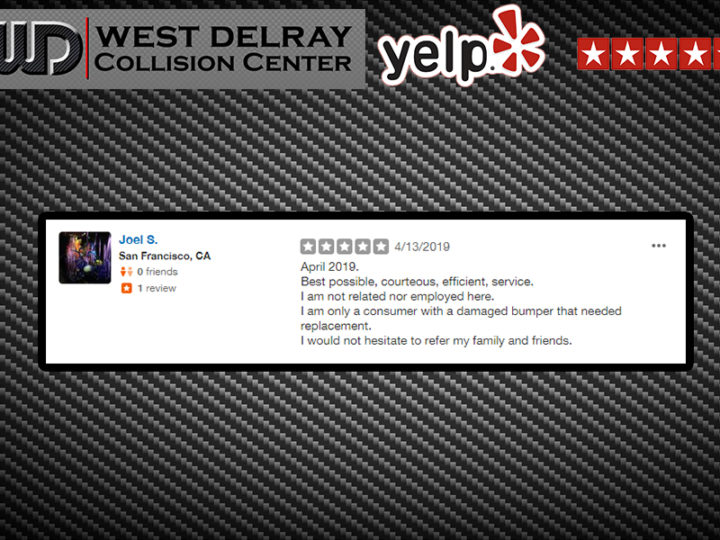 5 STAR YELP REVIEW by Joel S. |  West Delray Collision Center