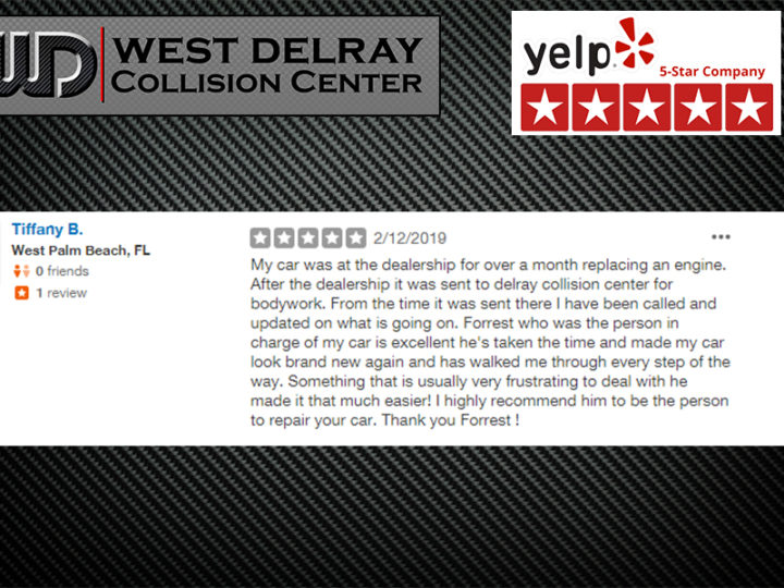 Yelp 5 Star Review by Tiffani B. | West Delray Collision Center